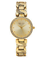 SO&CO New York Women's 5062.2 SoHo Quartz Stainless Steel 23K Gold-Tone Chain Link Crystal Accented Bracelet Watch