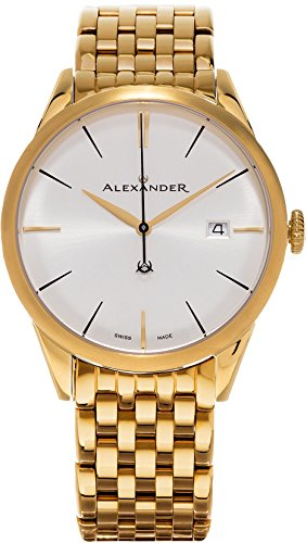 Alexander Heroic Sophisticate Bracelet Wrist Watch For Men - Silver White Dial Date Analog Swiss Watch - Stainless Steel Plated Yellow Gold Watch - Mens Designer Watch A911B-08