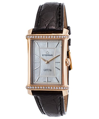 Eterna 2410-77-47-1199 Women's Diamond Contessa Black Crocodile White Mop Dial 18K Rose Gold Watch