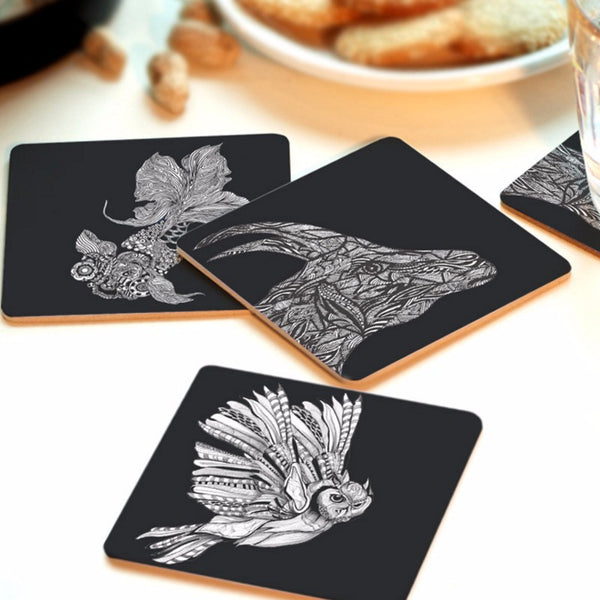 Hand Painted Animal Wood Coasters