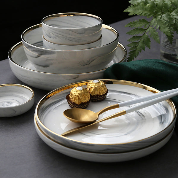 White Marble Design Ceramic Dinnerware Set