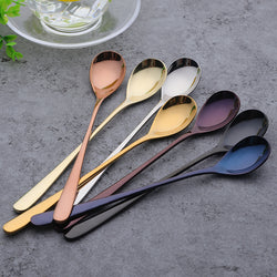 Mixed Color Long Handle Stainless Steel Spoon