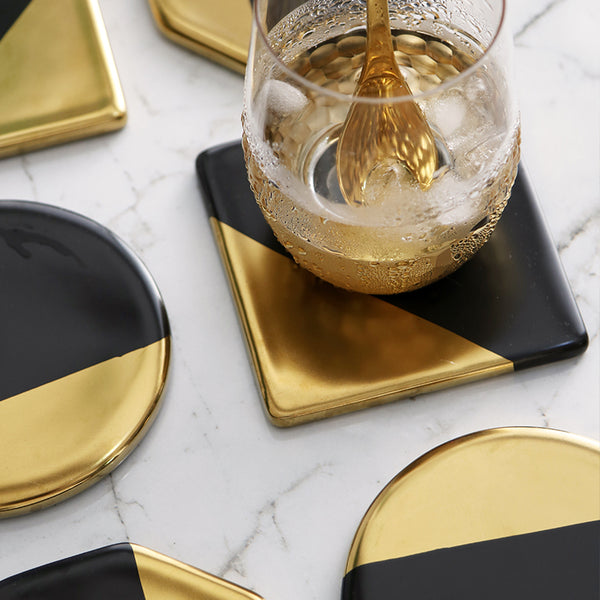Gold and Black Ceramic Coffee Coaster