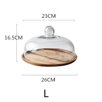Acacia Wood Pastry Plate with Cover