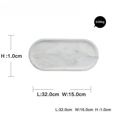 Oval Shape White Marble Design Serving Dish