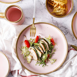 Pink and Gold Ceramic Western Tableware