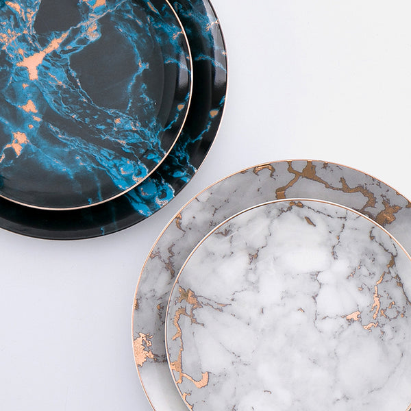 Monet Marble Design Ceramic Dinner Plates
