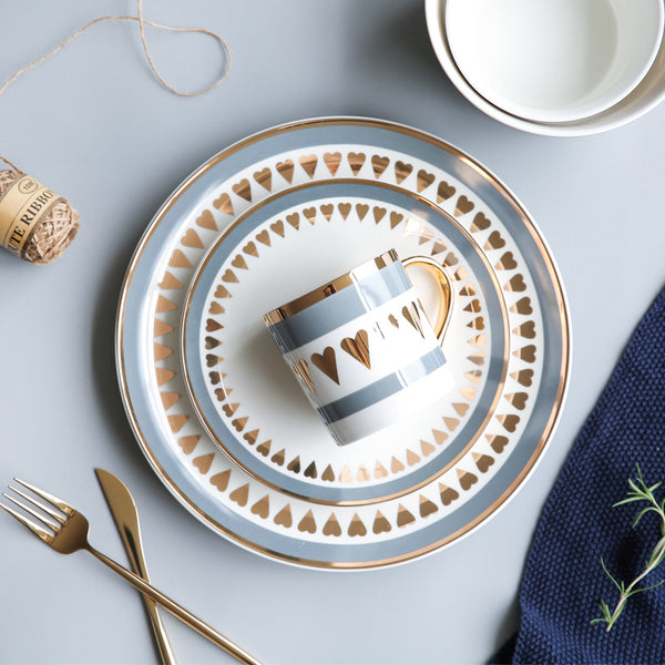 Gold and Blue Ceramic Dinnerware