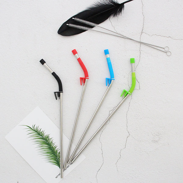 Stainless Steel Drinking Straw With Silicone Clip