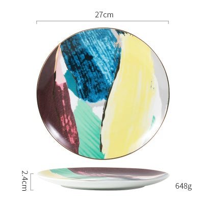 Watercolor Ceramic Dinner Plates