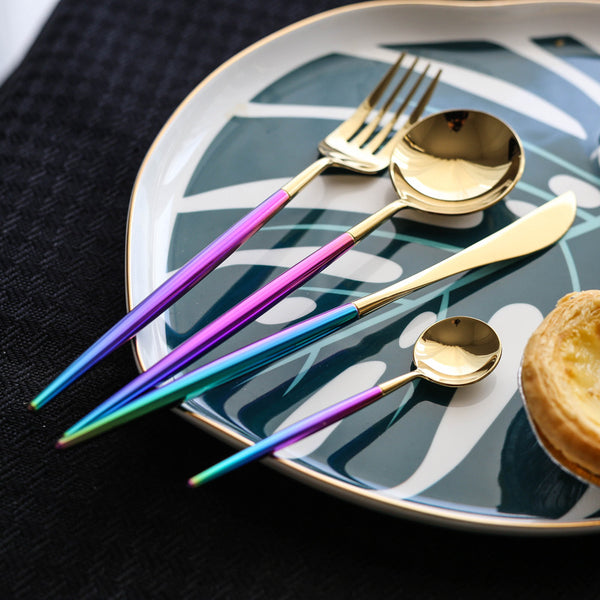 Rainbow and Gold Stainless Steel Cutlery Set
