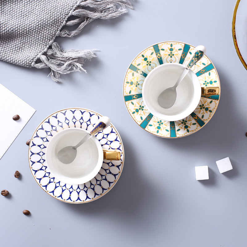 Geometric Pattern Coffee Cup and Saucer