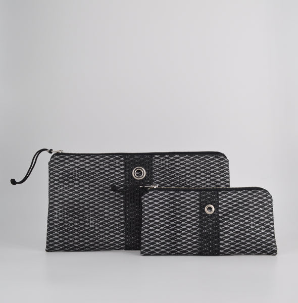 Silver & Black Metallic Clutch