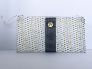 Gold & Navy Clutch in Midi Print
