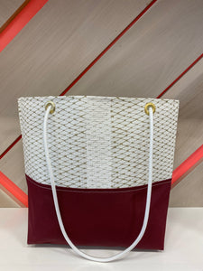 Market Tote in Gold & Burgundy