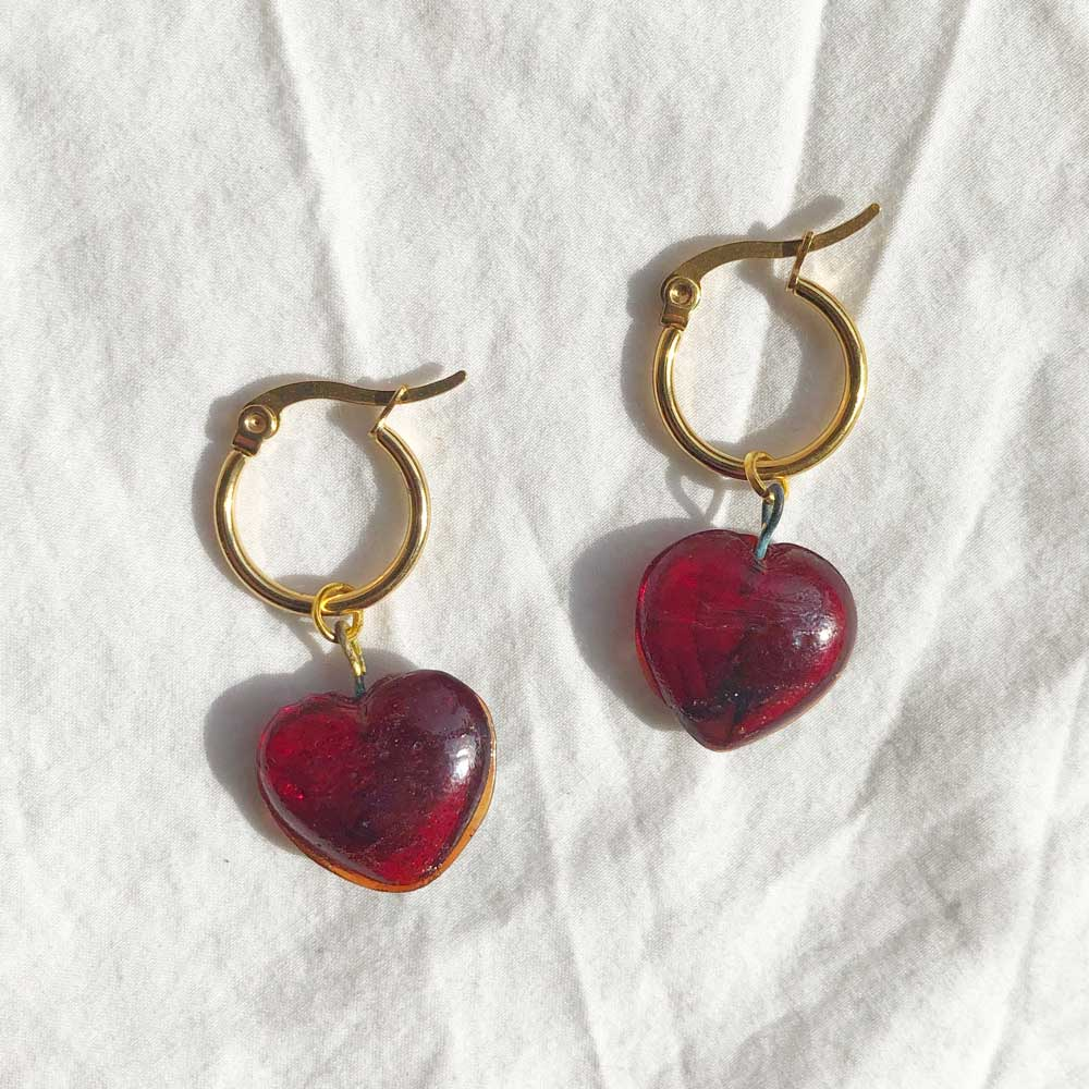 Vintage Glass Heart Charm Earrings