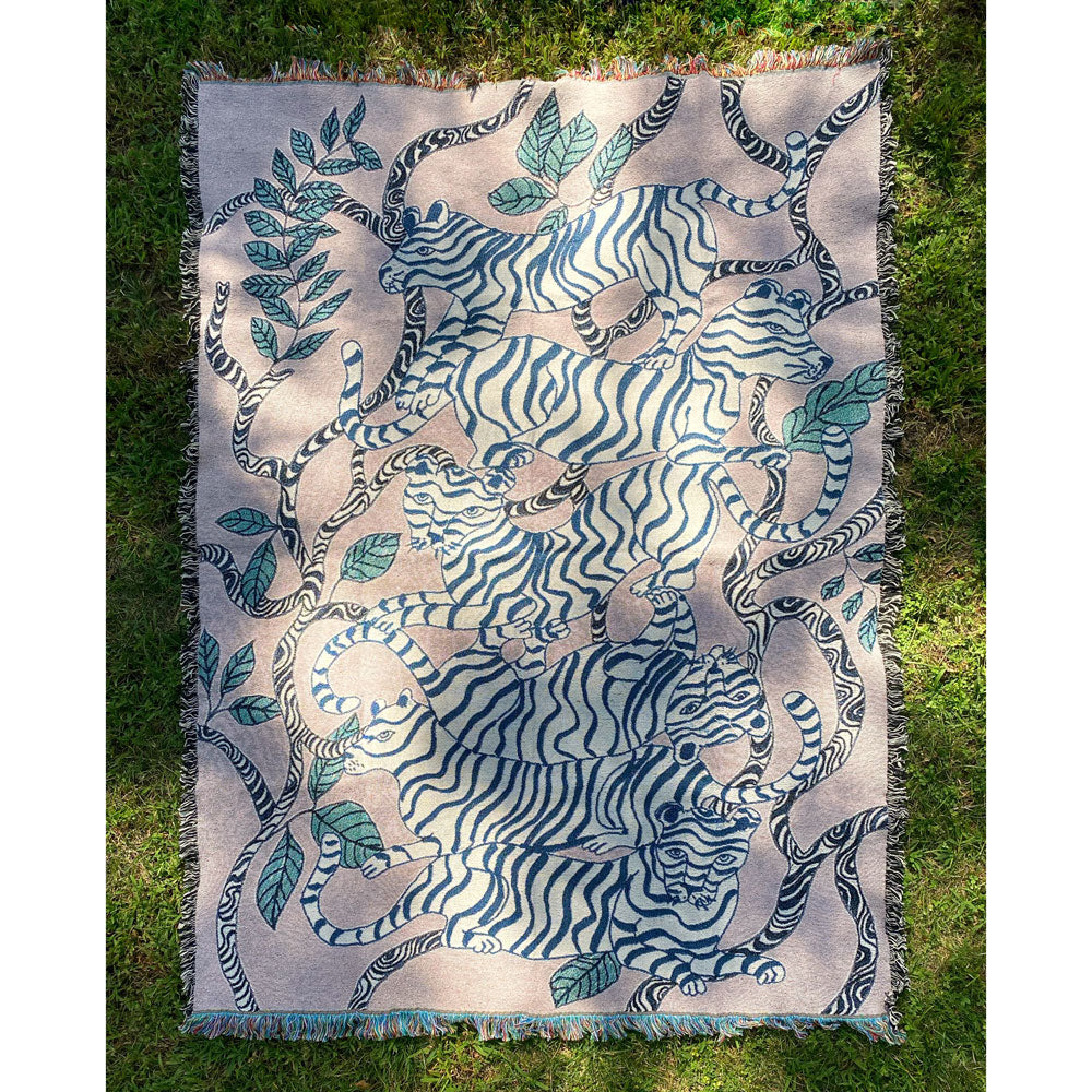 Lavender Tiger Landscape Throw Blanket