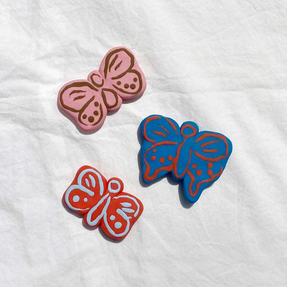 Clay Butterfly Magnets, Set of 3