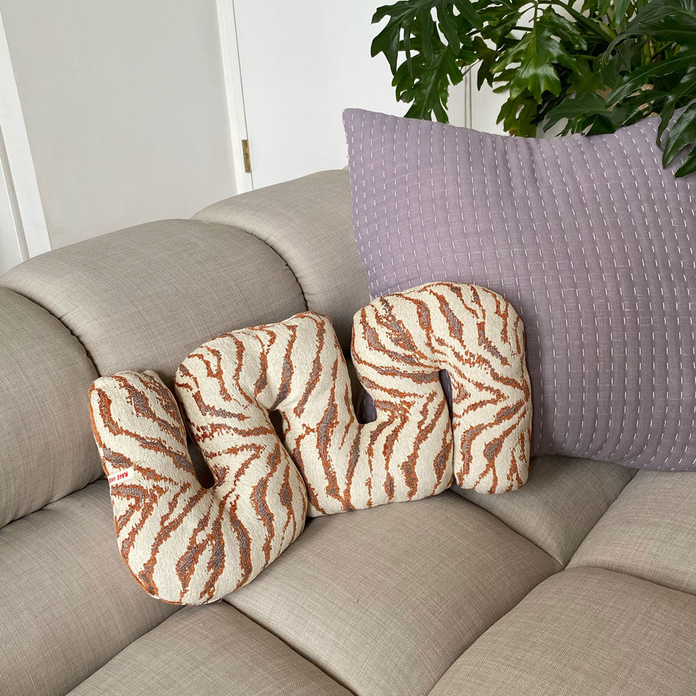 Reversible Terracotta Squiggle Pillow