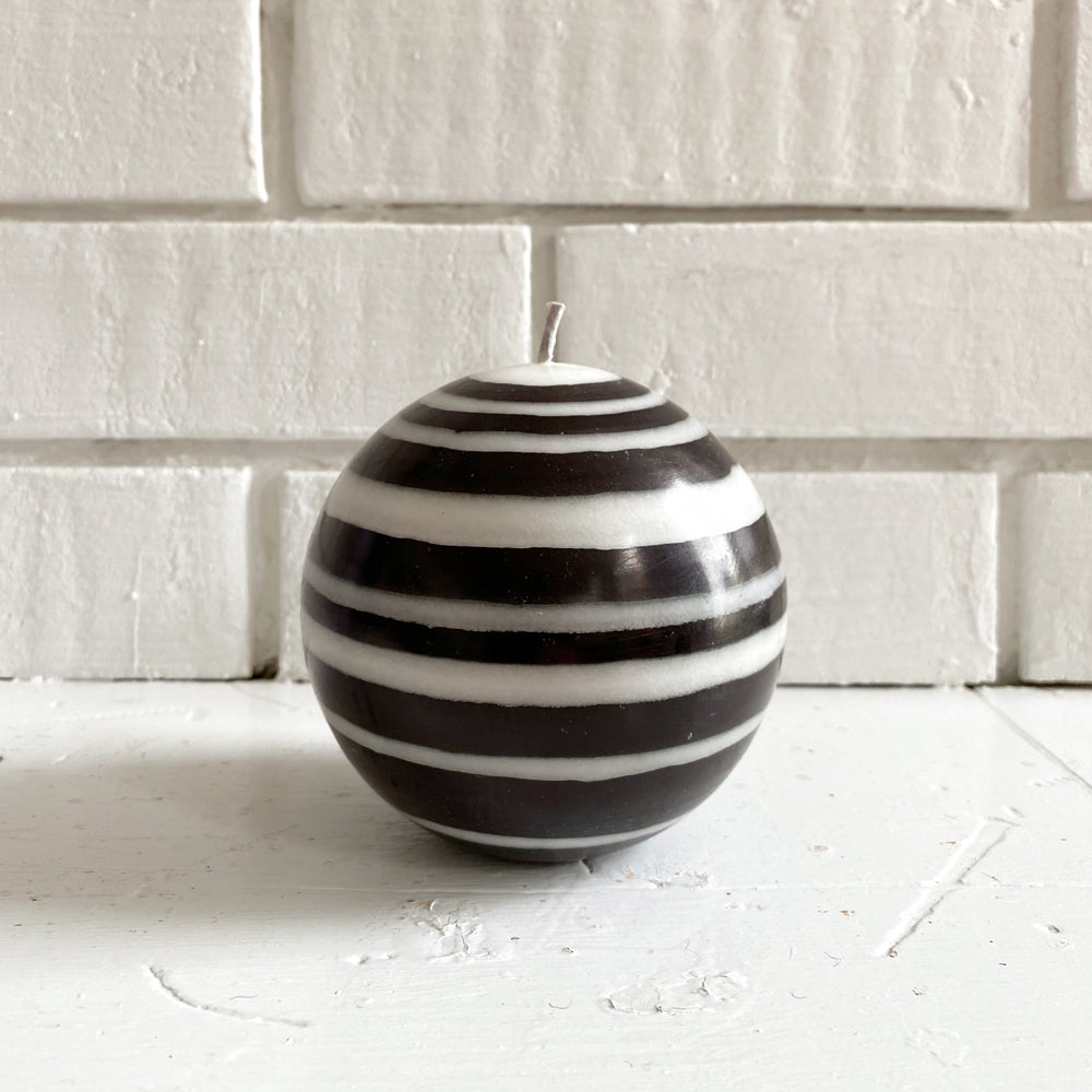 Black & White Striped Ball Candle