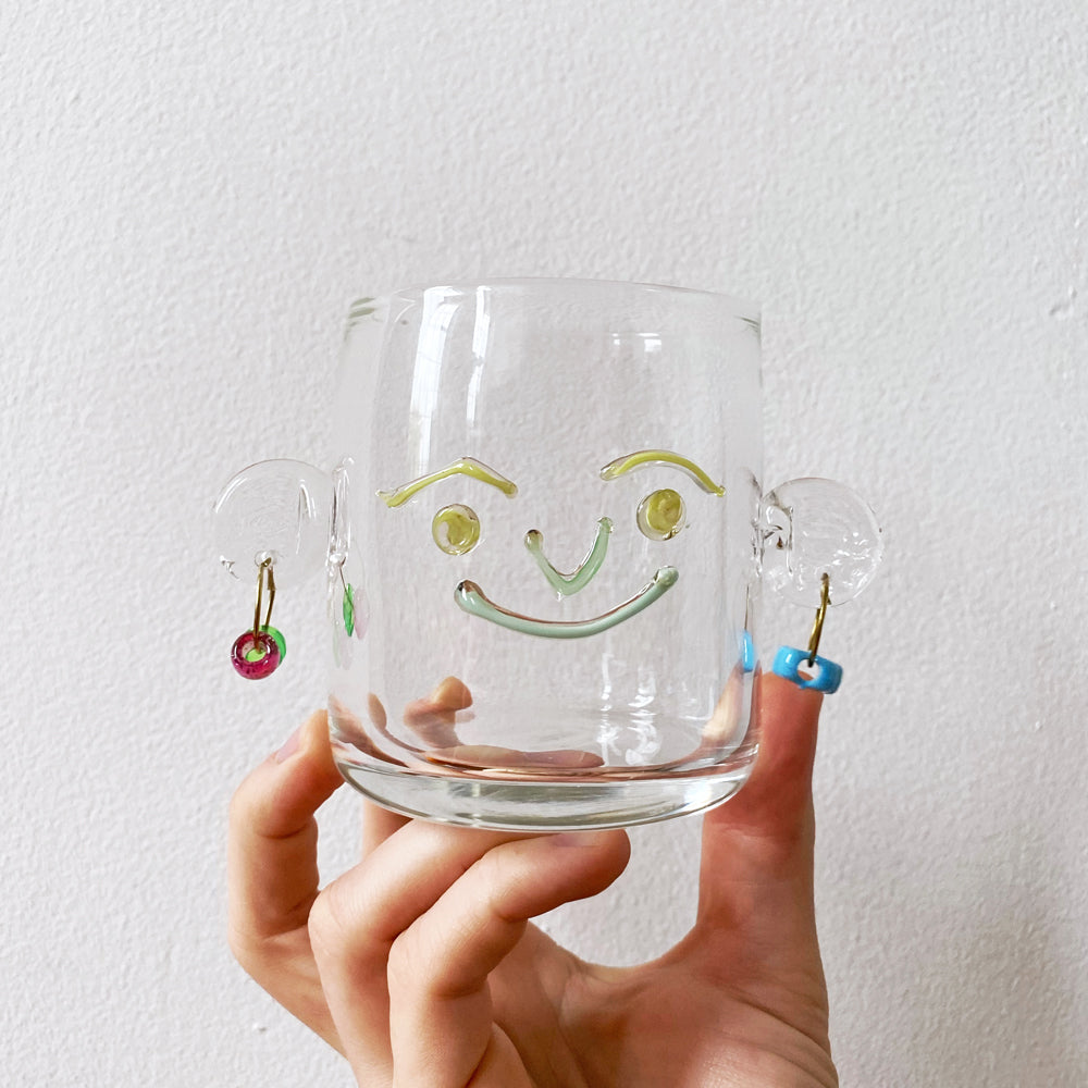Clear Glass Face Cups, with Earrings!