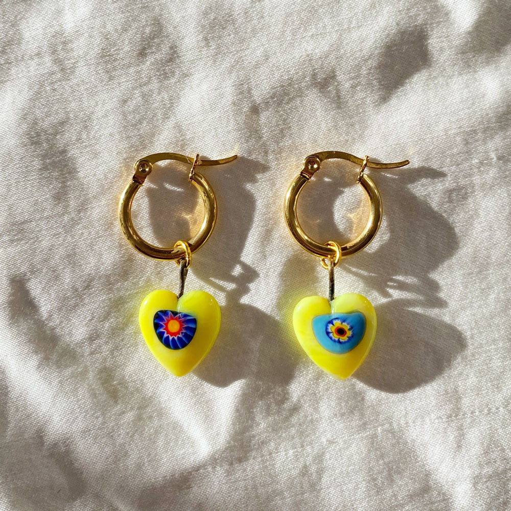 Vintage Yellow Millefiori Heart Earrings