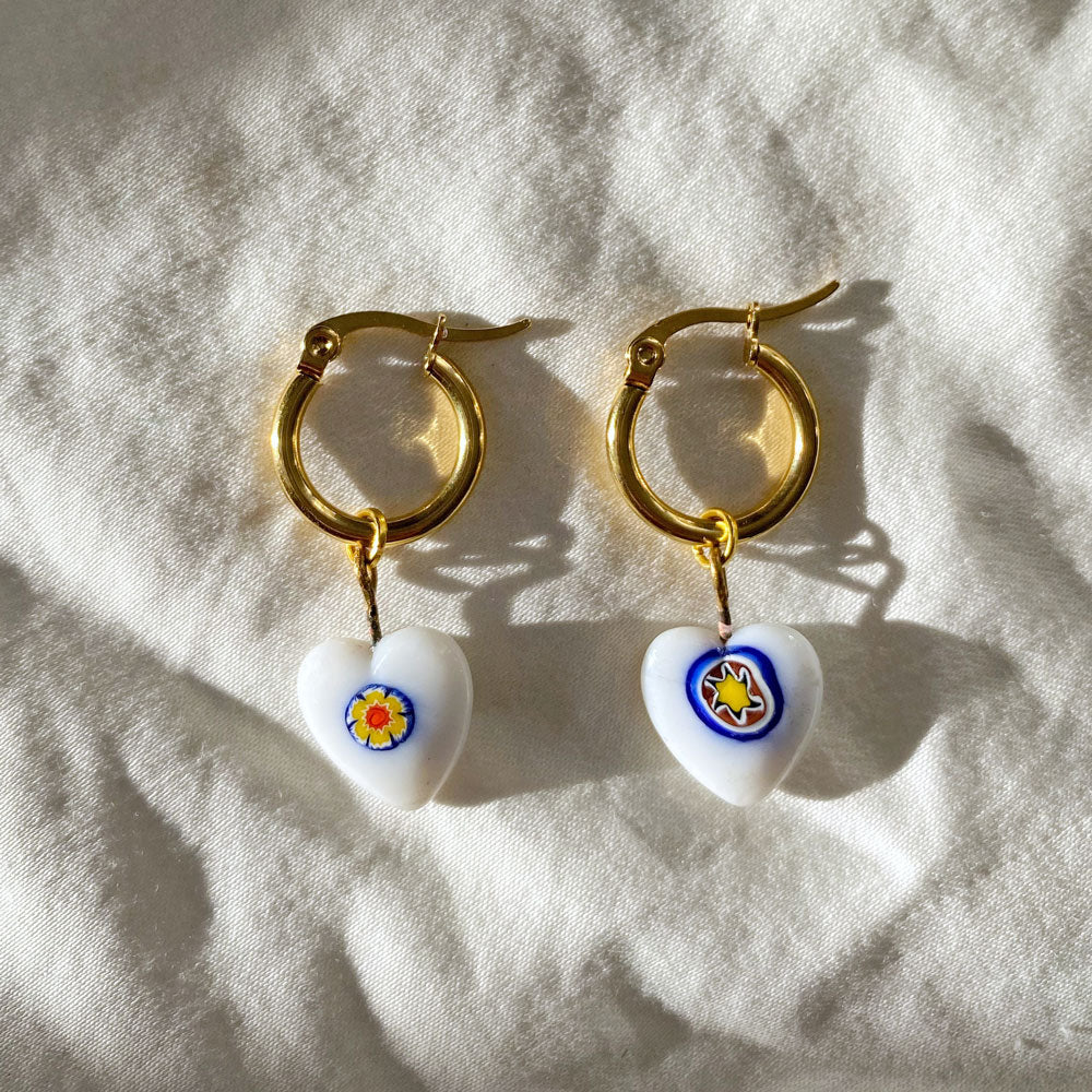 Vintage White Millefiori Heart Earrings