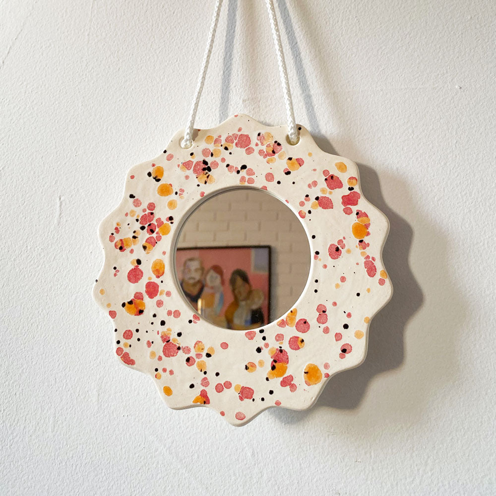 Pink & Orange Splatter Wall Mirror
