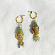 Load image into Gallery viewer, Vintage Cloisonne Fish Charm Earrings
