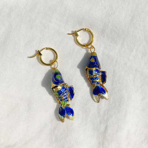 Vintage Cloisonne Fish Charm Earrings
