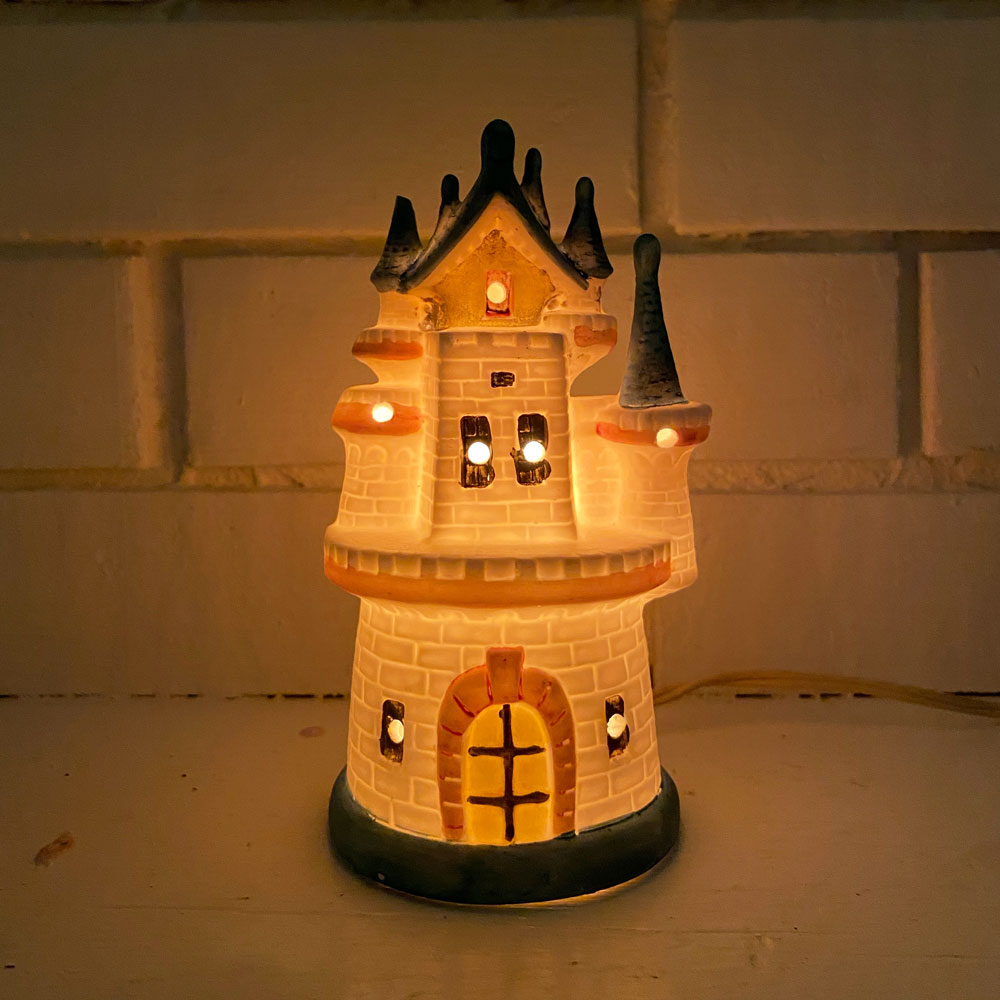 Vintage Ceramic Castle Lamp