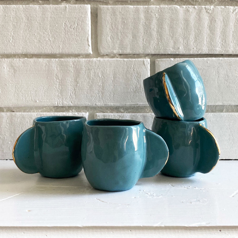 Teal Espresso Cups - Set of 4