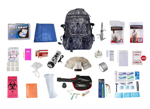 Hunter's Deluxe Survival Kit (72+ Hours) Camouflage Backpack, - Endure Disasters