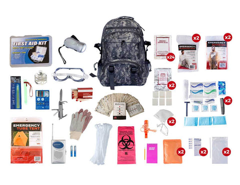 2 Person Elite Survival Kit (72+ Hours) Camo - Endure Disasters