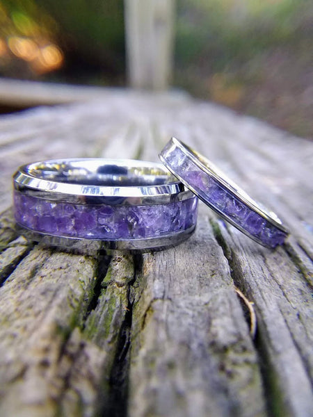 Gem Stone Filled Custom Tungsten, Titanium, and Ceramic Rings by Cary Ringworks
