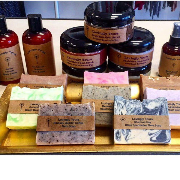 Crystal Powder Infused Body Scrubs, Washes, Lotions, and Soaps by Lovingly Yours