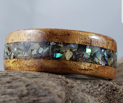 Abalone Paua Shell Koa Wood Bentwood Ring