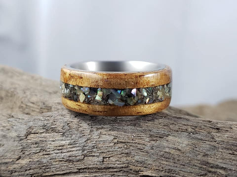 Abalone Koa Wood Bentwood ring