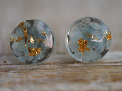 Aquamarine Gold Leaf Earrings