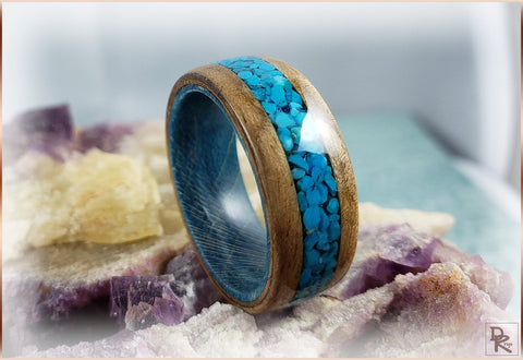 Bisbee Turquoise French Walnut Bentwood Ring