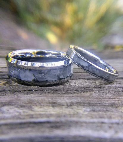 Tungsten Wedding Band Set with Moonstone Inlay