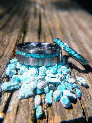 Tungsten Wedding Band Set with Turquoise inlay