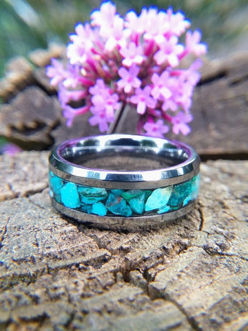 Tungsten Wedding Band with Turquoise inlay