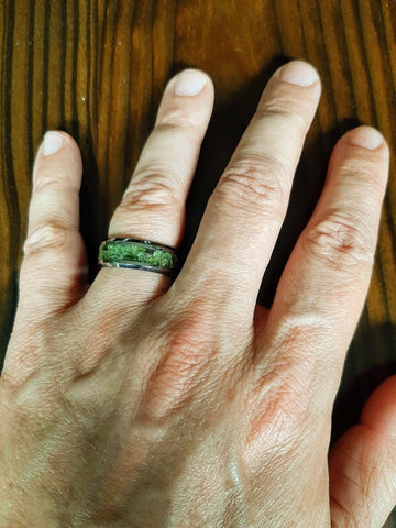 Silver Tungsten Wedding Band with Peridot Inlay
