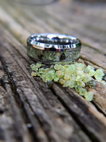 Tungsten Wedding Band with Peridot Inlay
