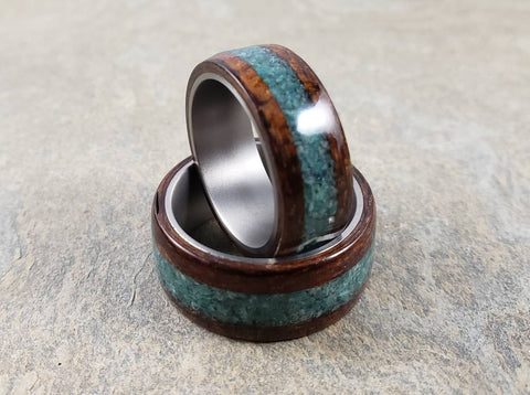 Bentwood Ring with Chrysocolla inlay