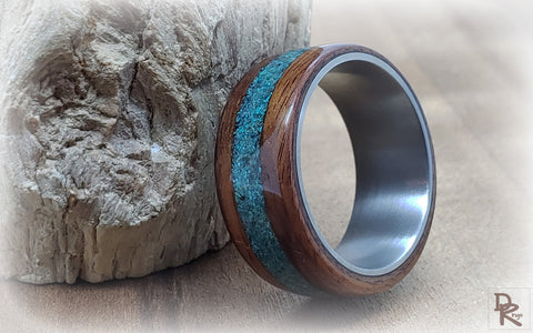 Chrysocolla inlay Bentwood ring design