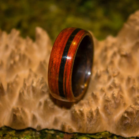 Cherry Bentwood ring with Shungite inlay.
