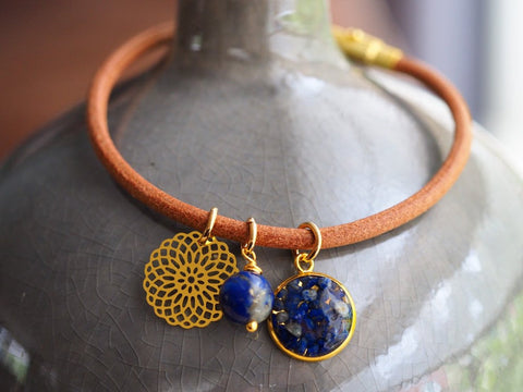 Leather Bangle Bracelet Gold Charms Lapis Lazuli