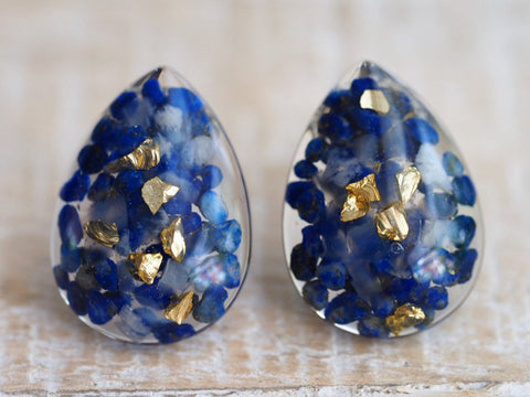 Lapis Lazuli gold leaf teardrop earrings